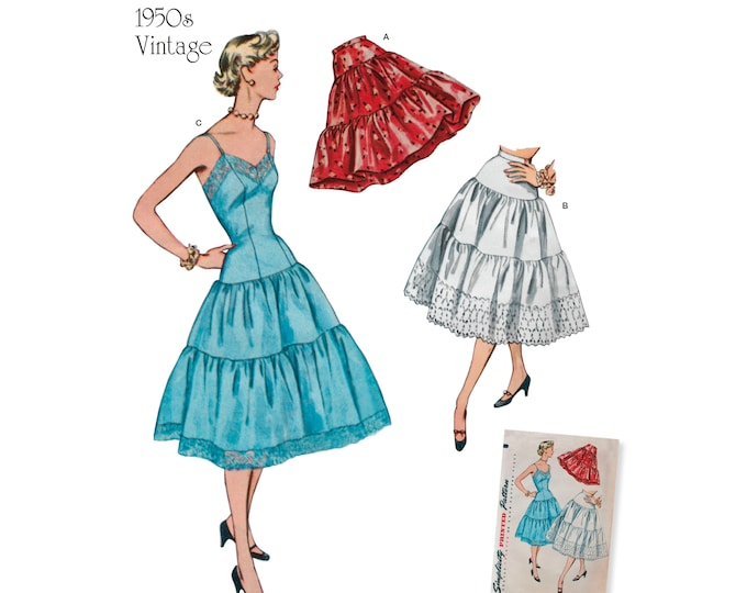 Simplicity Pattern 8456 Misses' Vintage Replica Petticoat,Underskirt and Slip ~ Sizes 14-22