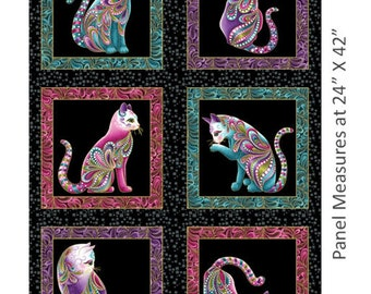 Cat Panel -Cat-i-tude Panel with Paisley border by Ann Lauer for Benartex -Quilters quality 100% Cotton