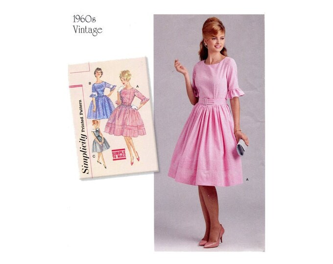 Simplicity #8591 Sewing Pattern 1960s Day or Party Dress  Full Skirt Sleeveless Ruffle Sleeves ,Sizes  Petit 12-20  Paper PATTERN ONLY