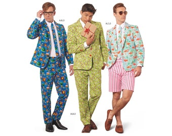 Simplicity Pattern 8528 Mens crazy suit with Neck tie  by Andrea Schewe Costume pattern designer