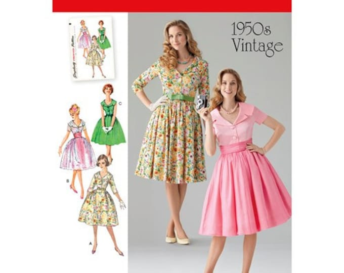 Simplicity #1459 Sewing Pattern 1950s Day or  Full Skirt, button up collar,Sizes 8-24 Paper PATTERN ONLY
