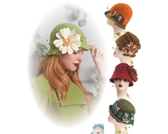 Simplicity Pattern 8573 Misses' Flapper Cloche  Hats in Three Sizes