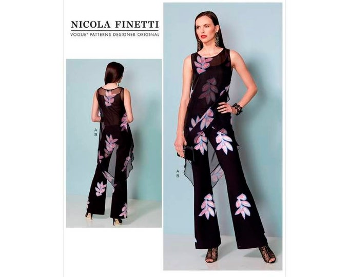 Vogue Pattern V1539 Misses Banded, Asymmetrical-Hem Tunic And Flared-Leg Jumpsuit by Nicola Finetti