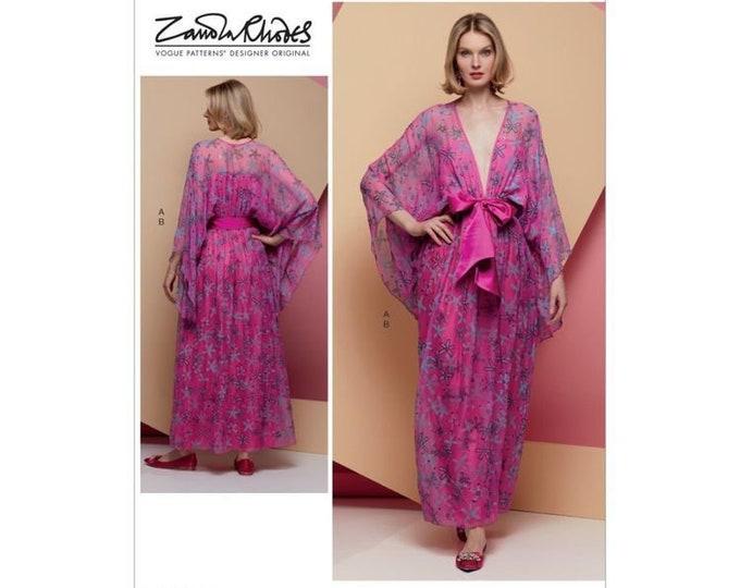 Vogue Sewing Pattern V1627 Zandra Rhodes,Deep V Neckline, Kimono Sleeves