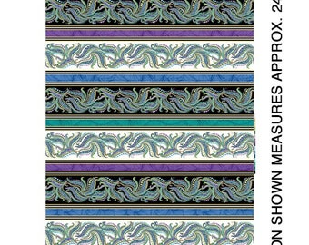 Paisley FEATHERS  Edging quilting fabric  White & Black Metallic stripe by Ann Lauer Quilters  Quality 100% Cotton 24 x 44 inch