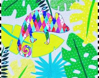 Chameleon Paper Pattern large wall hang hanging or quilt sized paper Applique Pattern