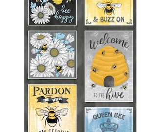 Queen Bee  Quilting Panel  with matching Plaid ,Flower and Queen Bee cordinates 100% cotton Michael Miller - Dianne Kappa