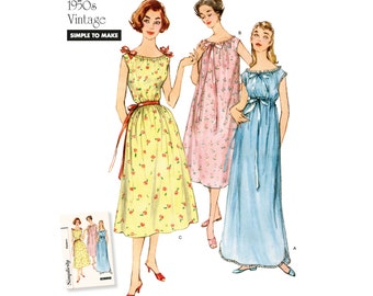 Simplicity Pattern #8799  Nightgown Vintage style for woven or stretch fabrics  All sizes Paper PATTERN ONLY