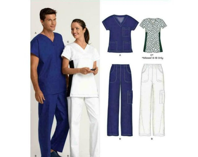 Sewing Pattern  New Look 6876 Unisex, Nurse, Scrubs,Health Care Medical Uniform for Woven or Knit Fabrics