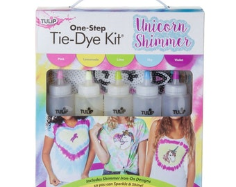UNICORN SHIMMER with  Iron on transfers -Tulip One Step Tie Dye Kit 5 Pack