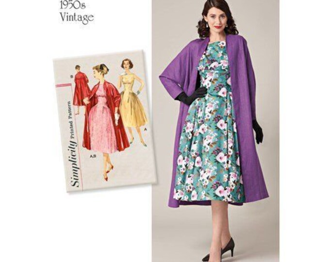 Simplicity Pattern #8731 Classic Vintage Style Dress Lined Coat Sewing Pattern 6-14 or 14-22 PATTERN ONLY