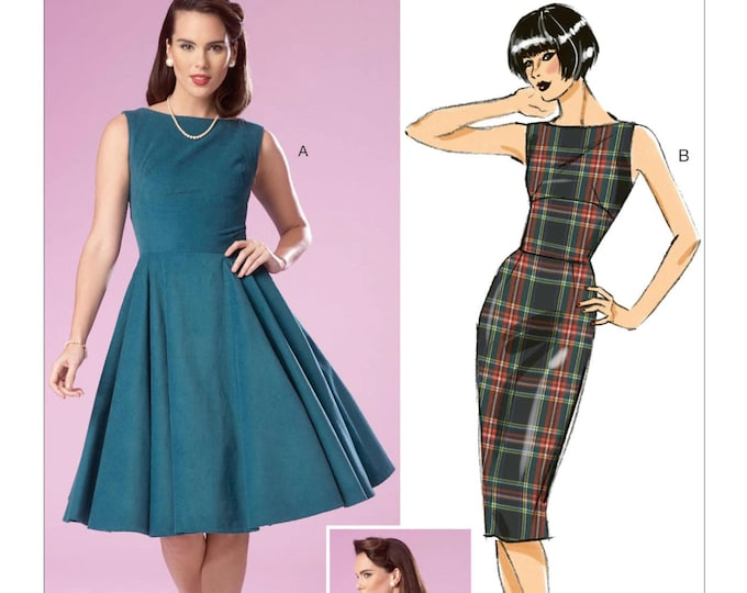 Sewing Pattern B6094 by Gertie  Flared or Pencil straight Skirt with boat neck and back fold    A5 E5 14 -22 Butterick