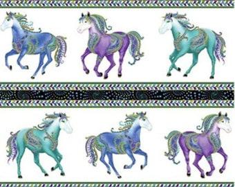 Horsen Around Panel White /Multi  Metallic  by Ann Lauer for Benartex -Quilters quality 100% Cotton 24 x 44 inch