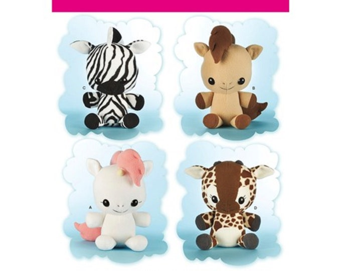 Simplicity 8034 16 Inch Plush animals Horse,Giraffe Unicorn Zebra  4 in 1 pattern pack-Teacup Lion Pattern