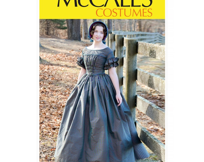 Macalls M7988 inspired by 1840s fashion. It has a very full skirt, gathered bodice, and delightful ruffly sleeves!