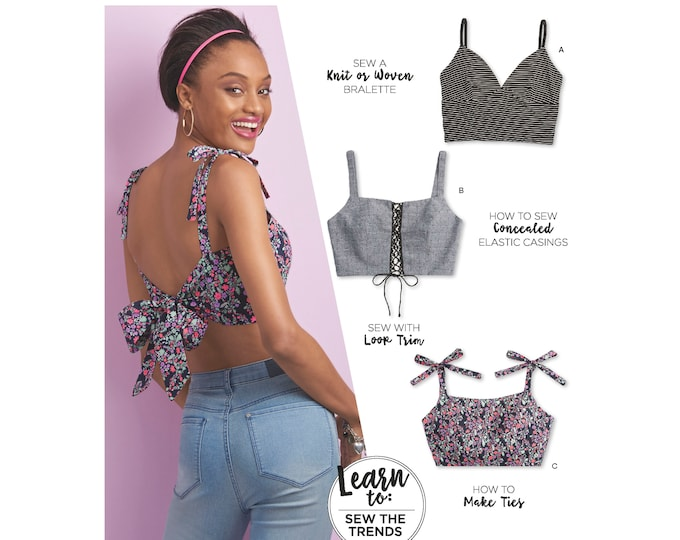 Simplicity 8549 Bra Top Paper Sewing Pattern Learn to Sew with Instruction for Knit or Woven Fabric ,making casings and loop trim