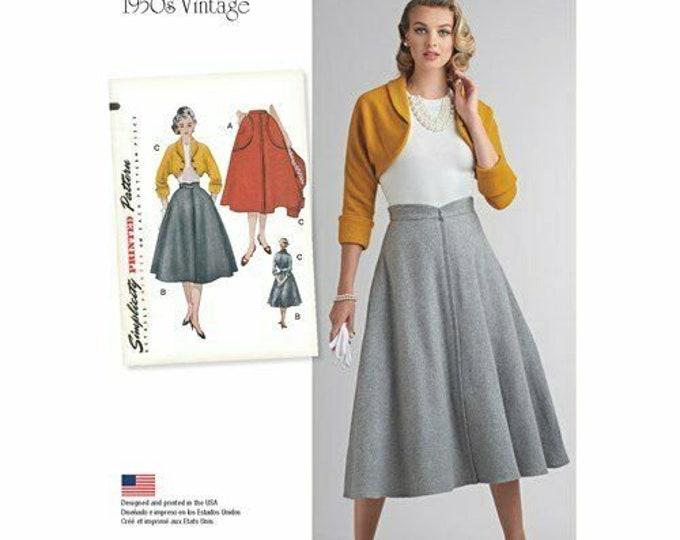 Simplicity Sewing Pattern 8250 Misses' Vintage 1950's Twirl Skirt & Bolero