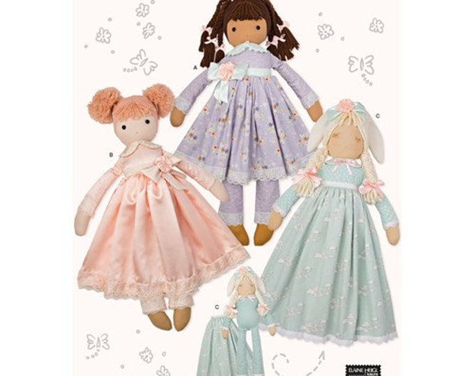 Simplicity 8760  Doll Sewing Pattern for 25 inch Stuffed Fabric doll with clothing & Decorative Varitions.