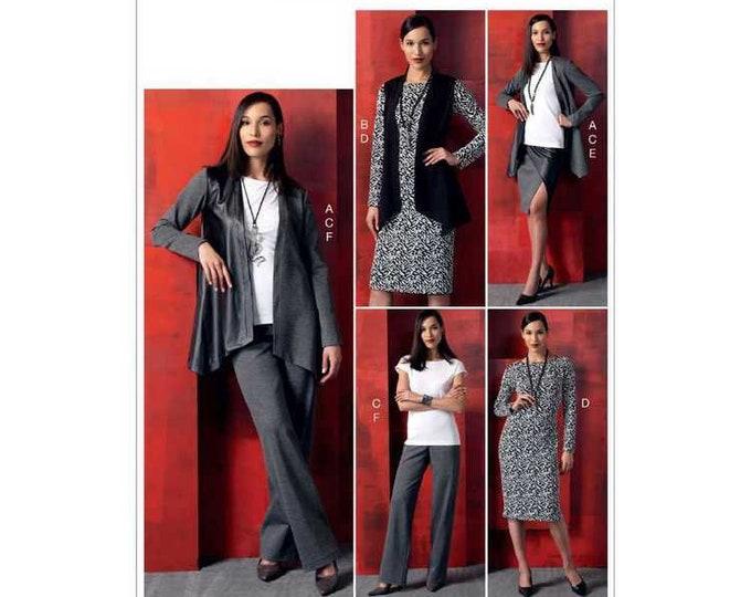 Vogue Sewing Pattern V9215  Jacket & Vest, Top, Dress, Mock-Wrap Skirt, and pants with side poskets for medium knit fabrics.