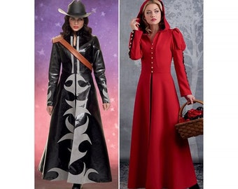 Simplicity S8974  Sewing Pattern Long slimline riding coat,  applique or hood options - shoulder strap  Cosplay Costume