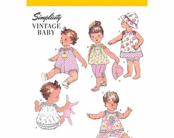 Simplicity 1813 Vintage Baby Sewing Pattern Romper Dress,Top Pants ,Bloomers Sunhat  XXS XS S M L Brand New