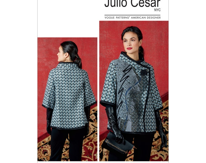Vogue Sewing Pattern V19341 Julio Cesar , Loose Fitting Jacket with Contrast Overlay XSM -sml Med OR Large -xxL