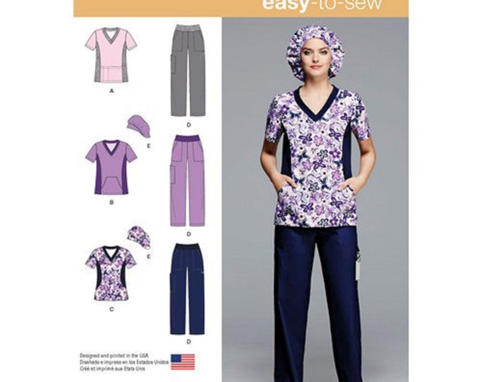 Simplicity Pattern 1020 Easy to Sew Scrubs , Nurses medical or child care  uniform with hair cap sizes 10-18
