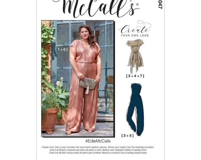 M8047 Edie McCalls  Misses'  Women's Romper, Jumpsuit & Sash 18 - 24 Plus sizes