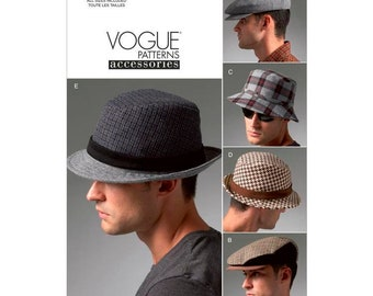 Men's Hat Vogue Sewing Pattern V8869 - Brogue , Cap or sun hat styles All sizes - Vogue accessories