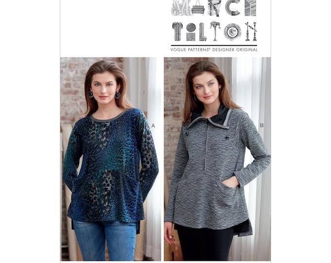 Vogue Sewing Pattern V9332 Marci Tilton  , Loose Fitting pull-over tops , Pockets Variations  XSM -Sml Med OR Large -xxL