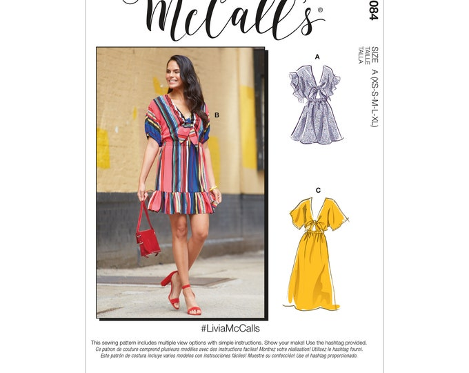 M8084 Sewing Pattern  Casual day Dress Pattern miss and Misses sizing, Tie Front Bodice XS-S-M-L-XL