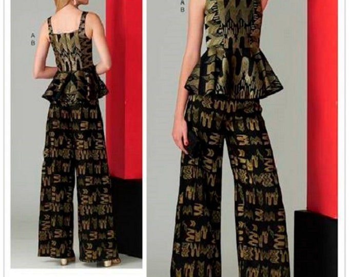 Vogue Sewing Pattern V1572 Zandra Rhodes - designer Originals  - Wide Leg Pants with Peplum Top