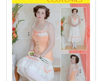 Chemise & Longline Lace up Corset Downton Abby Style -McCalls Sewing PAPER pattern M7915