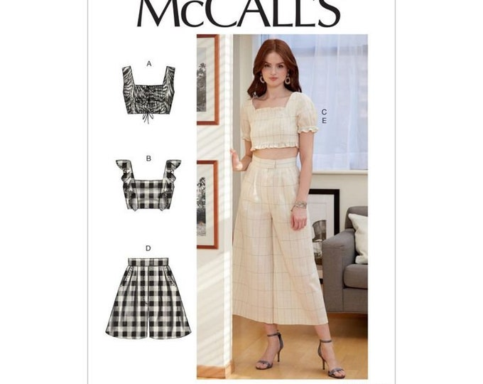 M7962  Misses' Tops, Shorts and Pants  midriff shirred top wide leg pants SEWING Pattern NEW