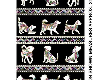 Dog Walk Fabric Panel with Paw Print Geometric border by Ann Lauer for Benartex -Quilters quality 100% Cotton 24 x 44 inch