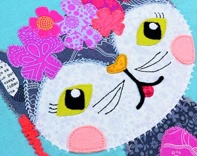 Furlicity Printed  PAPER pattern Kitten Applique for Mini Quilt Tote or Cushion