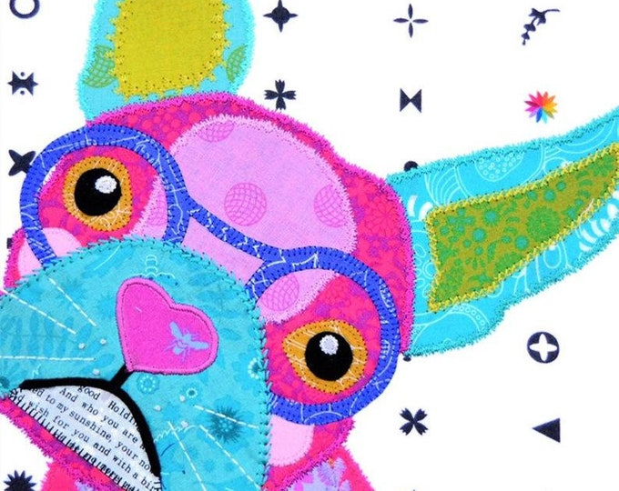 FrankIe the Frenchie  PAPER Applique  pattern for tote Bag or cushion  12inch  Block