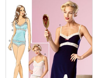 Sewing Pattern B6031  by Gertie Lace-Trimmed Camisoles, Slip and Panties  A5(6-8-10-12-14) Butterick