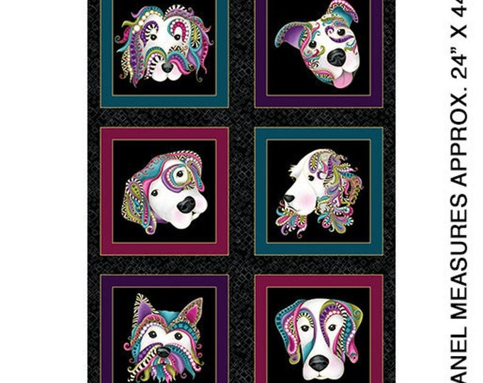 Dog on it!  Panel with Paisley border by Ann Lauer for Benartex -Quilters quality 100% Cotton 24 x 44 inch