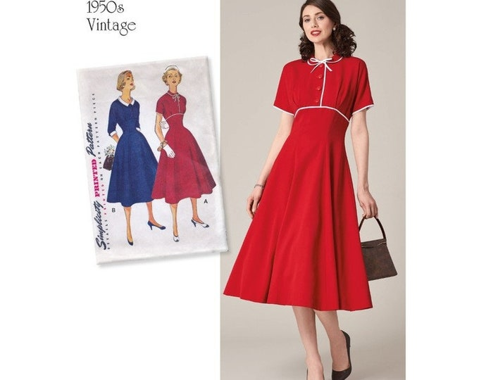 Simplicity #8732  Pattern Vintage Style Day dress  Dress Sewing Pattern  6-16 or 16-24 sizes Paper PATTERN ONLY