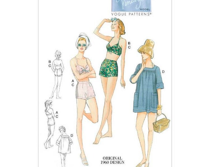 Vogue Sewing Pattern V9255 Vintage style,  Lined Halter Bra & Shorts, Square-Neck Cover-up With Pockets  Sizes 6-8 petit or 14-22 Misses
