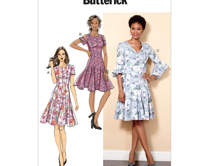 Butterick Pattern B6514 Misses' / Miss Petite Paneled Dress with multiple sleeve options  V neck or round