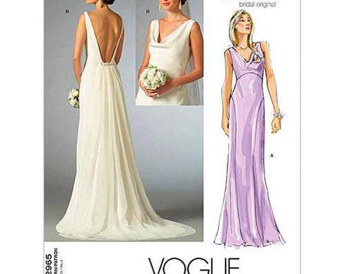Vogue Sewing Pattern V2965 Misses' Cowl-Neck Dress with Plunging Back -Bridal Gown