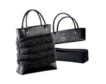 Knit, Crochet or Sew-in your own leather look Tote Bag Kit with Handles , Top & Bottom - Brown or Black NEW Concept