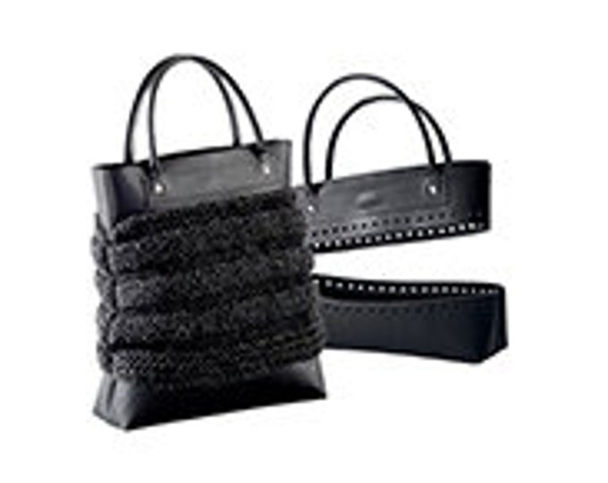 Knit, Crochet or Sew-in your own imitation leather Tote Bag Kit with Handles , Top & Bottom - Brown or Black NEW Concept