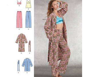 Simplicity Pattern 8800 Misses' Robe, Pajama Pants, Camisole Top with Bralette Lingerie Sewing Pattern