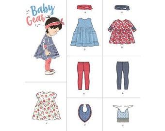 Simplicity Pattern 8304 Babies' Leggings, Top, Dress, Bibs and Headband   XXS XS S M L Brand New baby gear to sew!