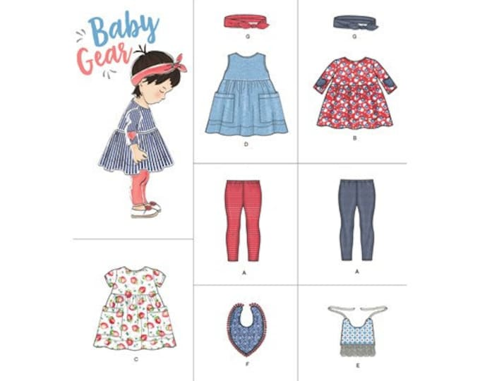 Simplicity Pattern 8304 Babies' Leggings, Top, Dress, Bibs and Headband   XXS XS S M L Brand New baby gear to sew!