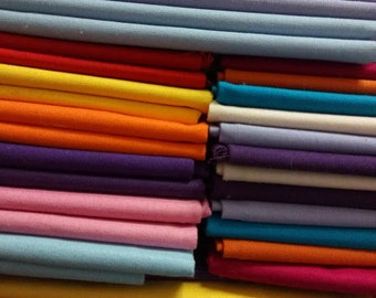 Cotton Fabric MIX Fat quarters ,Fat flat packs of x 6 - 100%  Cotton Earth tones, Light shades, Candy , Rainbow, Brights ,Royal  6 x 50 x 52