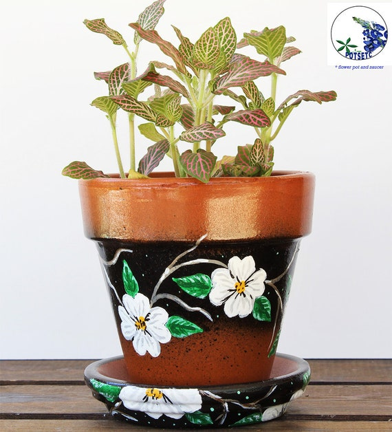 White Flowers On Painted 4 Inch Flower Pots Decorative Pots Etsy